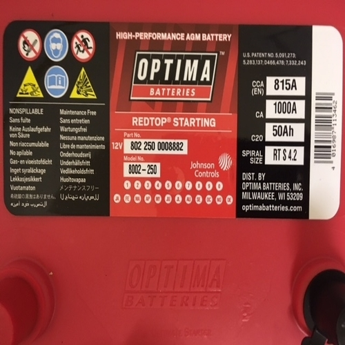 Optima Red Top Rts 4 2 8002 250 Bci 34 Rts4 2 Agm